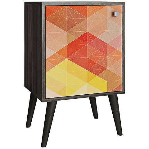 Avesta 1-Door Multi-Color and Oak Wood Side Table