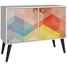 avesta 2 door multi color and gray feet tv stand - Colored Tv Stands