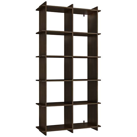 Gisborne 10-Shelf Tobacco Wood Bookcase