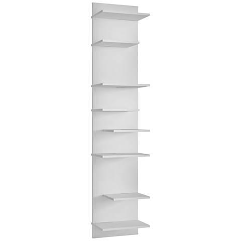 Nelson 8-Shelf White Wood Floating Bookcase