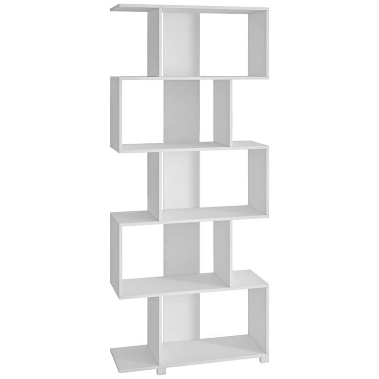 Petrolina 5-Shelf White Wood Z-Shaped Bookcase