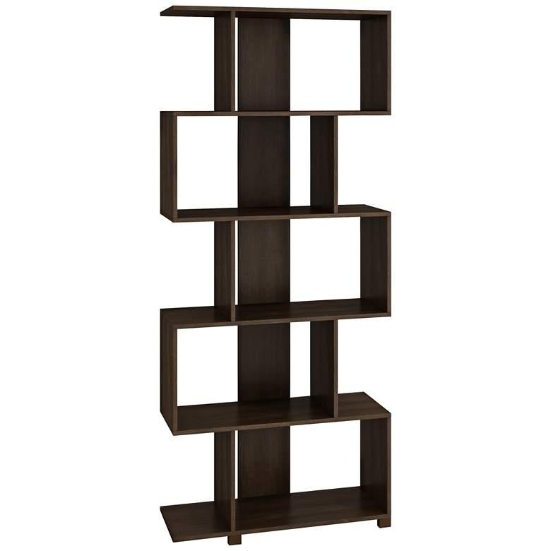 "Petrolina 72 1/2"" High Tobacco Wood Z- Shelf Modern Bookcase"