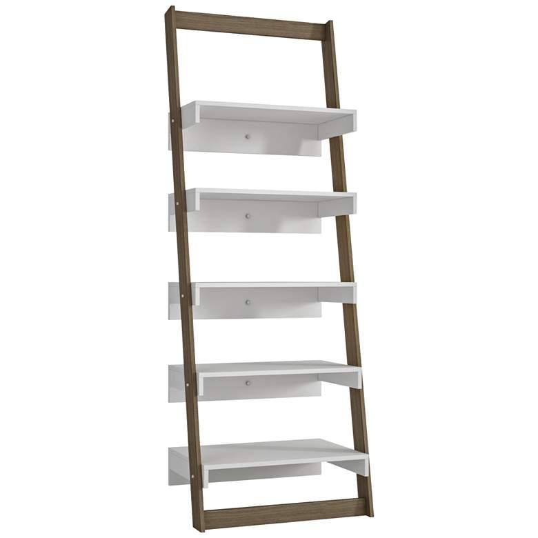 "Carpina 69 3/4"" High 5-Shelf Oak Ladder Modern Bookcase"