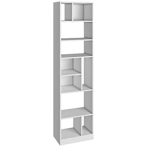 Valenca 10-Shelf White Wood Tall Bookcase