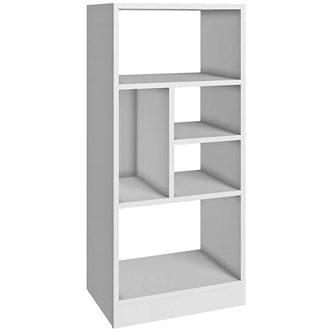 Valenca 5-Shelf White Wood Medium Low Bookcase