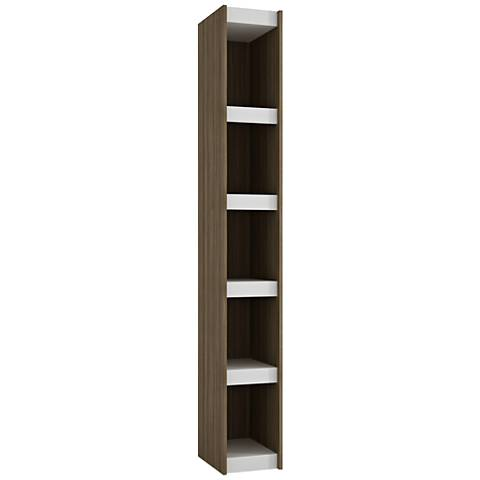 Parana 5-Shelf White and Oak Wood Small Bookcase