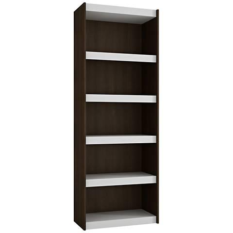 Parana 5-Shelf White and Tobacco Wood Large Bookcase
