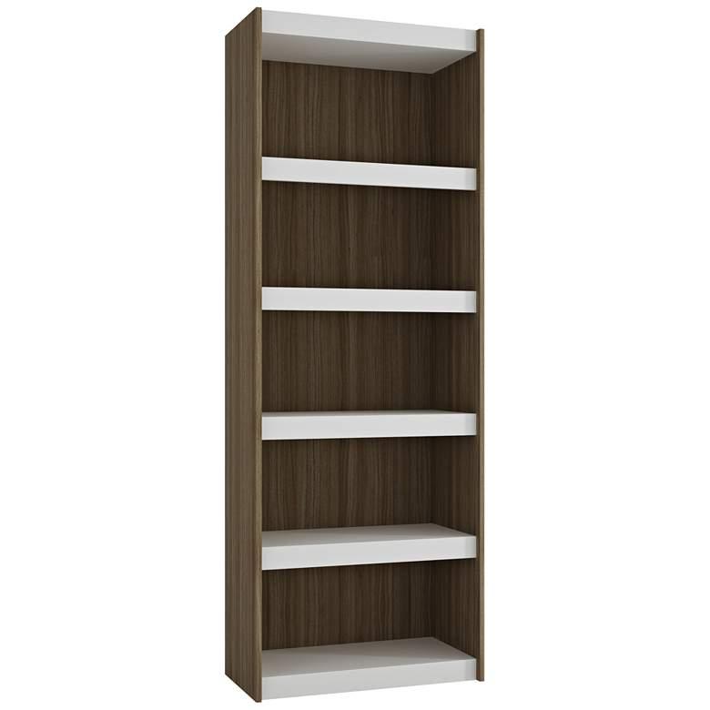"Parana 71 3/4"" High 5-Shelf White and Oak Modern Bookcase"