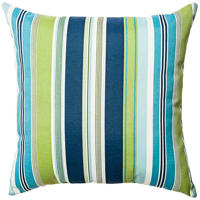 "Admiral Navy and Green Striped 22"" Indoor-Outdoor Pillow"