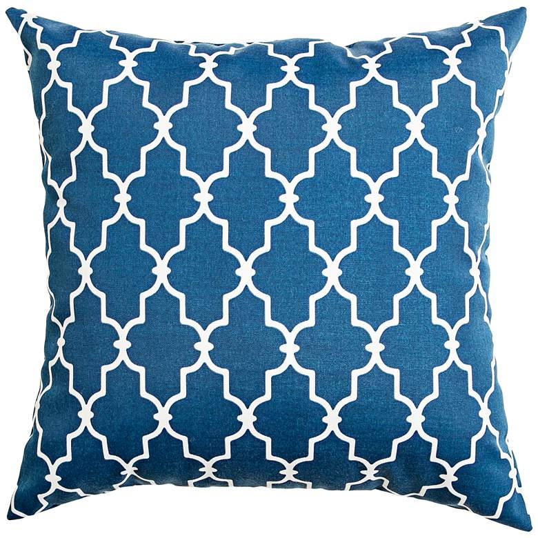 "Frisco Navy Geometric 20"" Square Indoor-Outdoor Pillow"