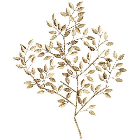 "Dolma Gold Leaves 36"" High Iron Wall Art"