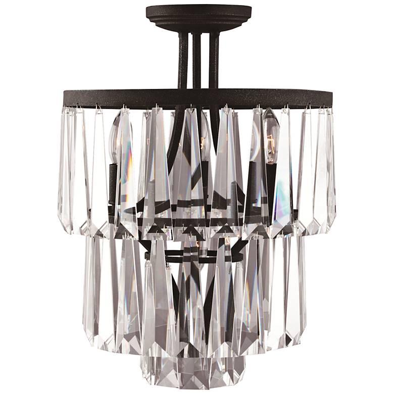 "Raffinato Painted Bronze 14 1/2""W Crystal Ceiling Light"
