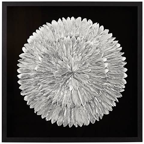 "Silver Feathers 31 1/2"" Square Wall Art"