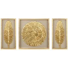 """Golden Feathers 31 1/2"""" High Wall Art Set of 3"""