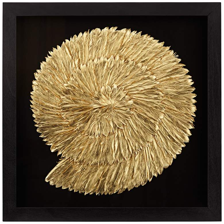 """Nautilus Feathers Gold 31 1/2"""" Square Wall Art"""