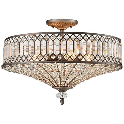 "Paola 23"" Wide Weathered Zinc 4-Light Ceiling Light"