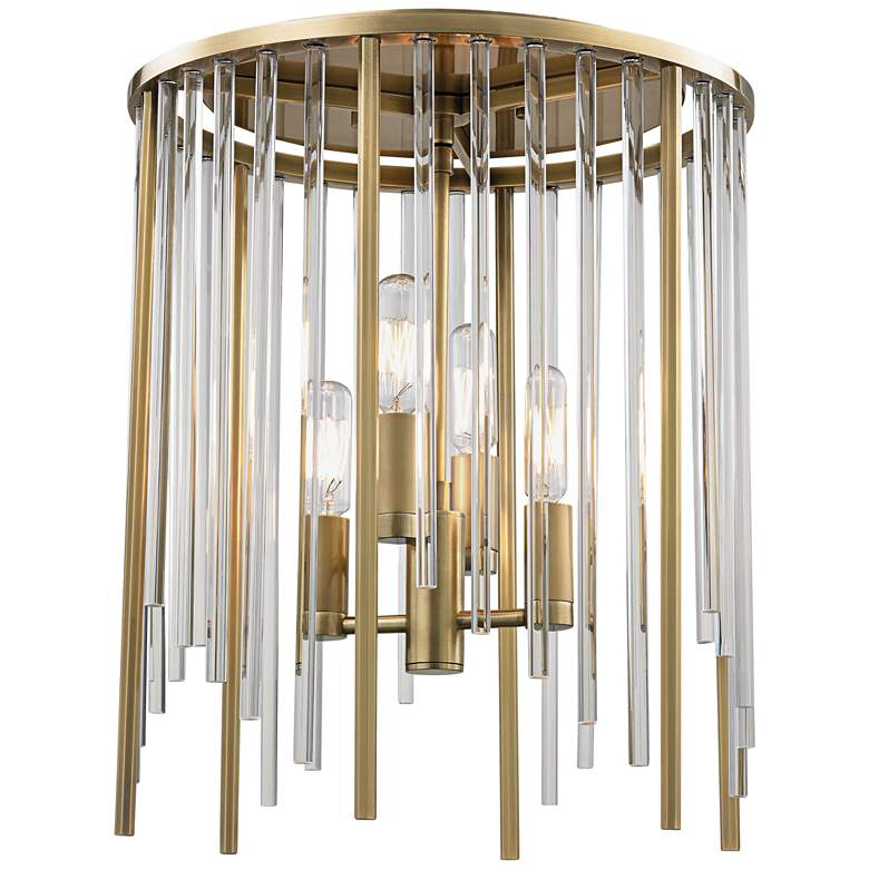 """Hudson Valley Lewis 13"""" Wide Aged Brass Ceiling Light"""