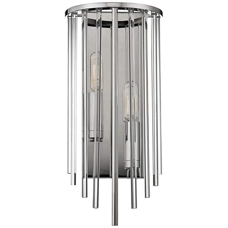 """Hudson Valley Lewis 15"""" High Polished Nickel Wall Sconce"""