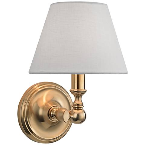 """Hudson Valley Sidney 9 3/4"""" High Aged Brass Wall Sconce"""
