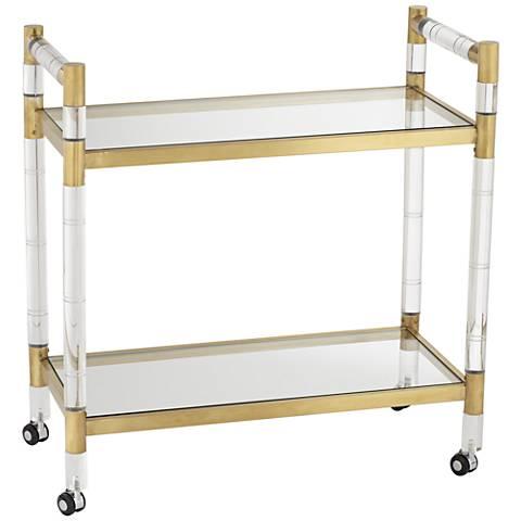 Adele Clear Acrylic and Gold Rectangular Bar Cart