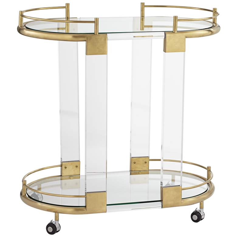 """Adaline 29 1/2"""" Wide Clear Acrylic and Gold Oval Bar Cart"""