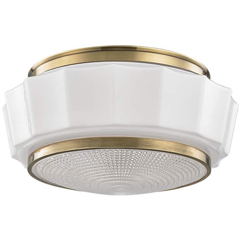"Hudson Valley Odessa 13 1/2"" Wide Aged Brass Ceiling Light"