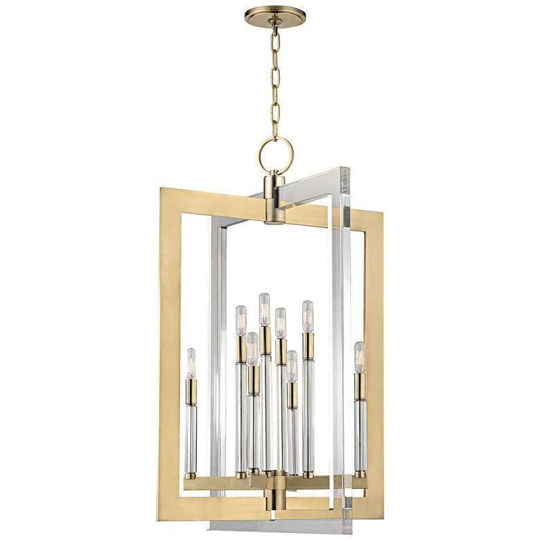 "Hudson Valley Wellington 23"" Wide Aged Brass Pendant Light"