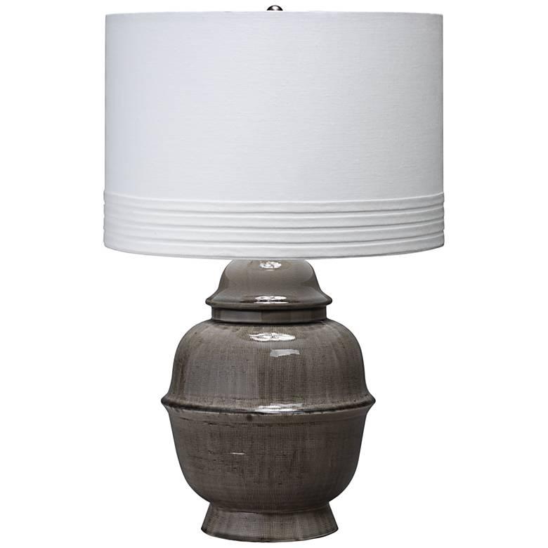 Jamie Young Kaya Japanese Gray Ceramic Urn Table Lamp