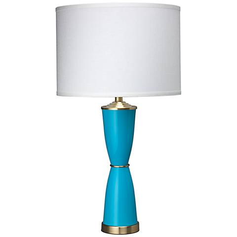 Jamie Young Lido Brass Blue Glass Italian Urn Table Lamp