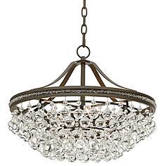 "Wohlfurst 20 1/4""W Bronze 5-Light Crystal Pendant Light"