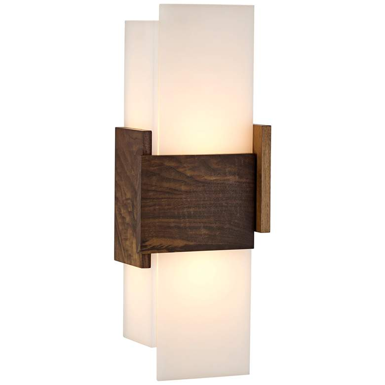 """Cerno Acuo 16 1/2"""" High Natural Walnut LED Wall Sconce"""