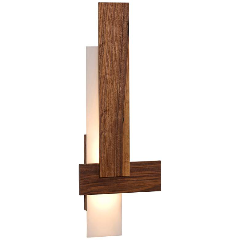 "Cerno Sedo 36"" High Oiled Walnut LED Wall Sconce"