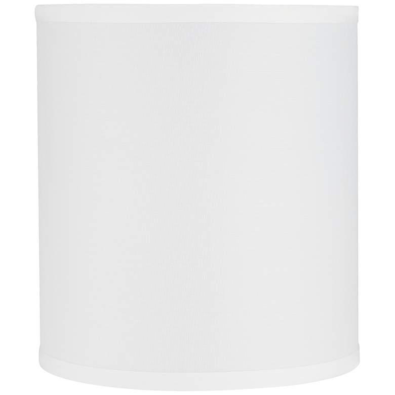 """1K617 - 9""""Dx10""""H White Sandtone Linen Drum Shade"""