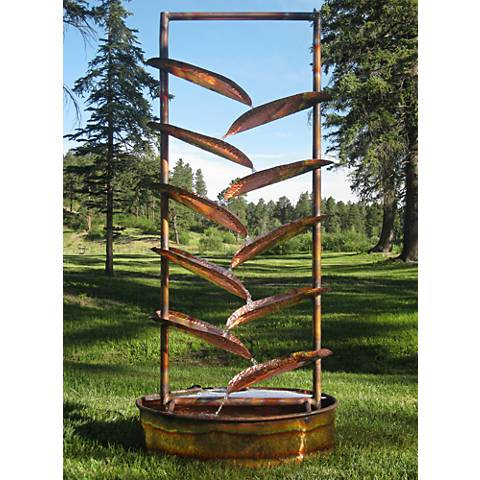 Trellis 72' High Sculptural Copper Outdoor Fountain