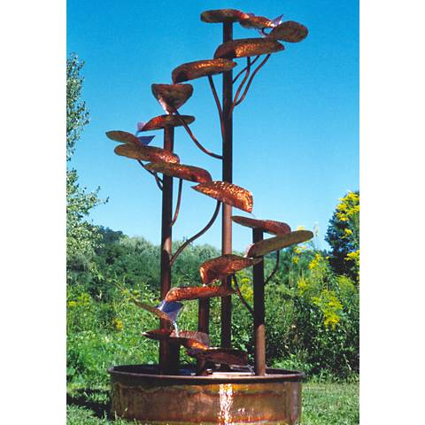 "Helix 84"" High Rustic Sculptural Copper Outdoor Fountain"