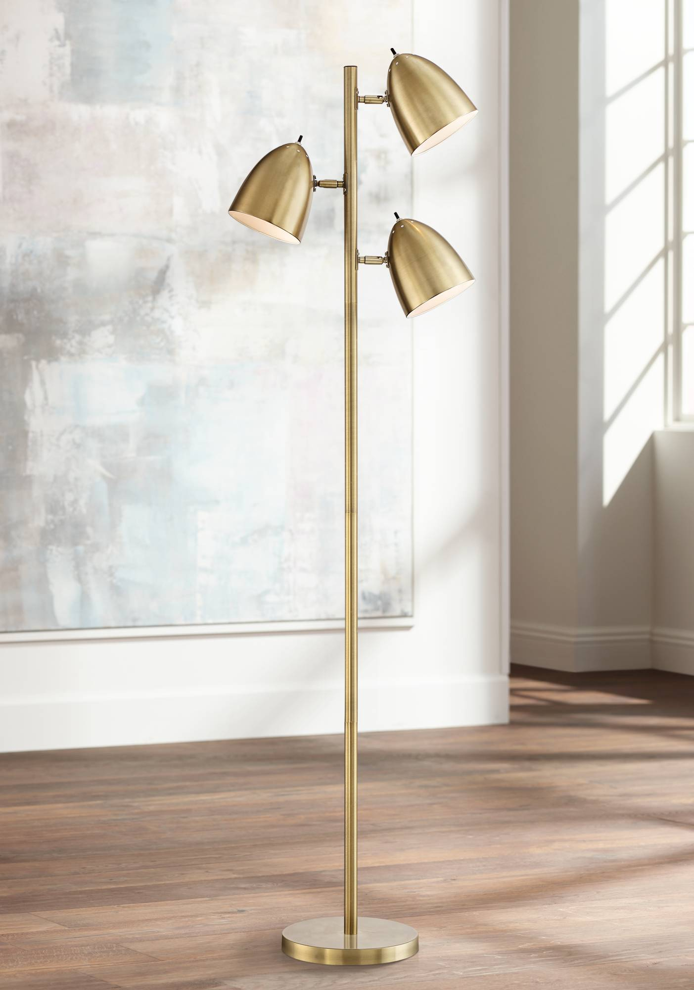 7f4f1ceffd942 Details about Mid Century Modern Floor Lamp 3-Light Tree Adjustable Aged  Brass For Living Room