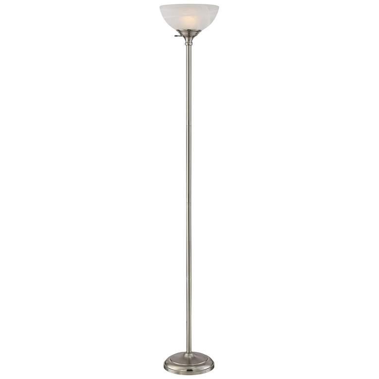 Maddox Satin Nickel Modern Torchiere Floor Lamp