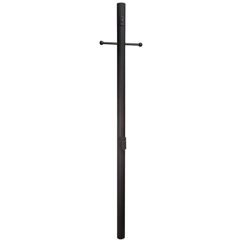 "84""H Matte Black Direct Burial Fluted Lamp Post"