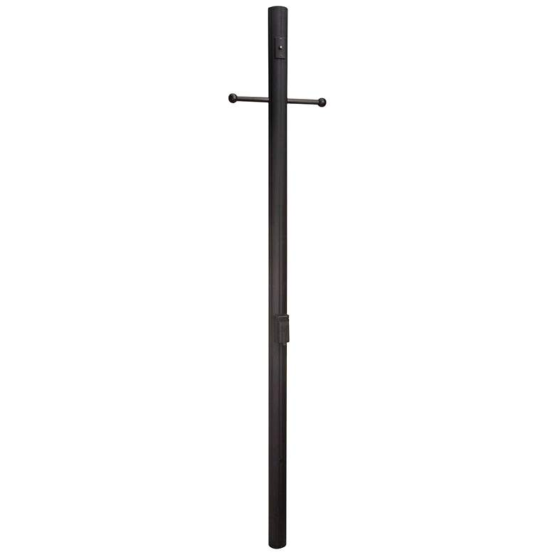 "84""H Matte Black Direct Burial Fluted Lamp Post"