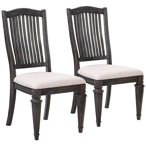 Sutton Place Weathered Charcoal Pine Wood Dining Chair Set of 2
