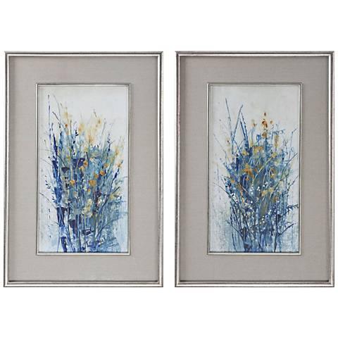 "Uttermost Indigo Florals 41 1/2""H Framed Wall Art Set of 2"