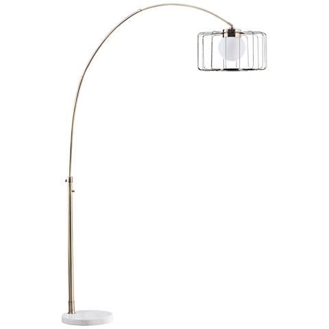 Nova Watson Weathered Brass Cage Shade Arc Floor Lamp