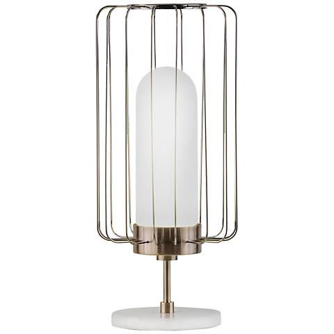 Nova Watson Weathered Brass Caged Shade Table Lamp