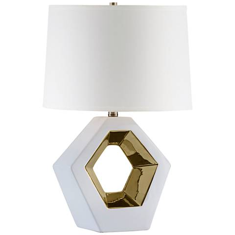 Nova Zone Reclining Gold and White Ceramic Table Lamp
