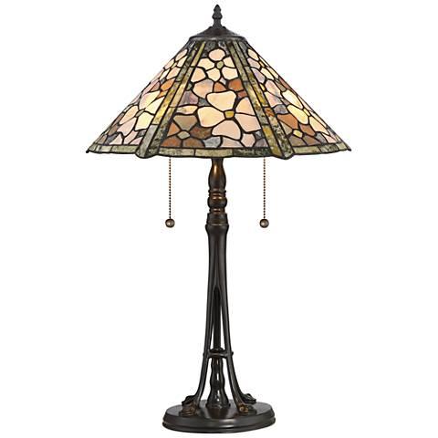 Quoizel Flower Field Jade Stone Bronze Table Lamp