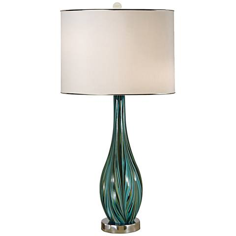 Thumprints Seafoam Blown Glass Table Lamp