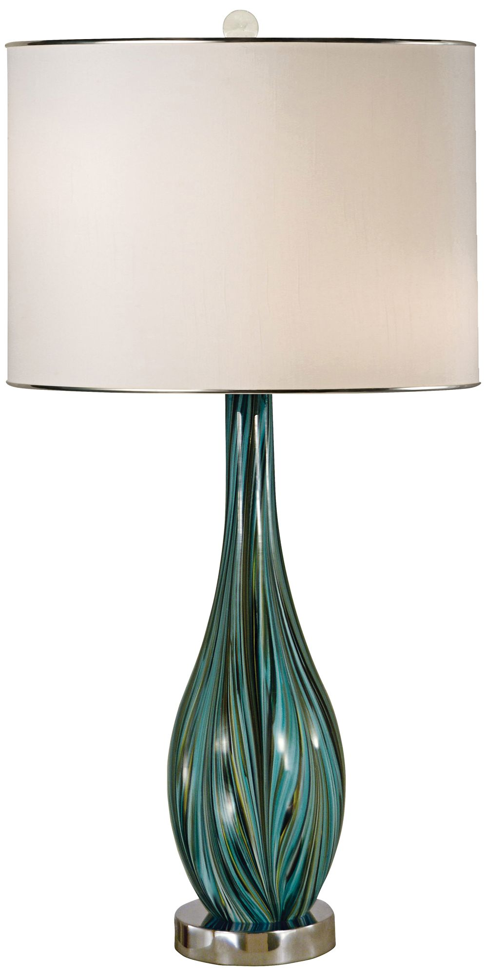 Thumprints Seafoam Blown Glass Table Lamp