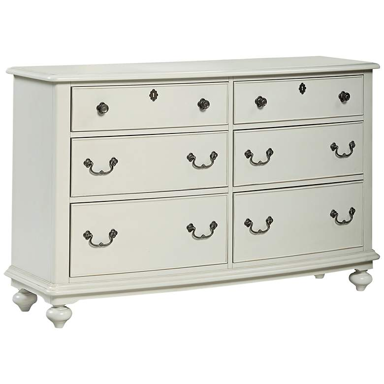 "Inspirations 58"" Wide Morning Mist Gray 6-Drawer Dresser"