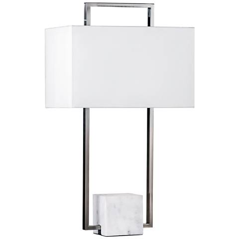 Nova Stratum Brushed Nickel and White Marble Table Lamp
