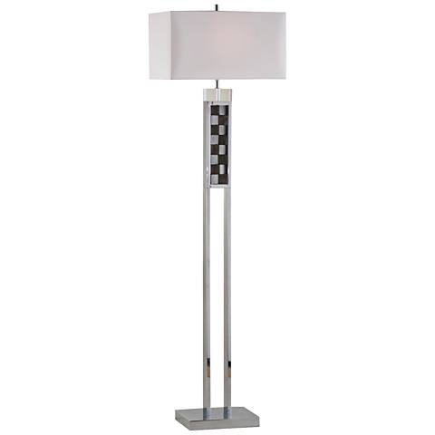 Nova Textura Chrome and Charcoal Checkerboard Floor Lamp